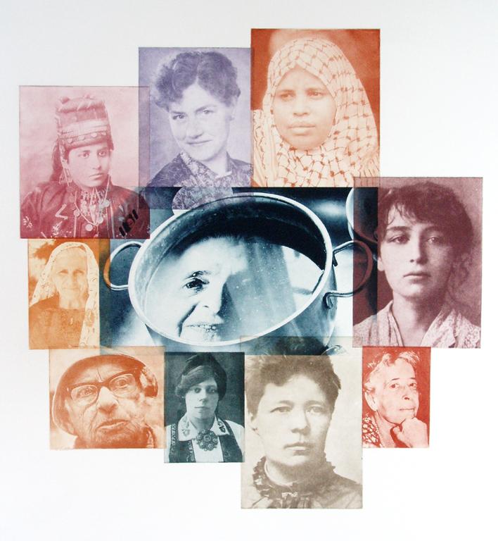 Fra grydens dyb. Fotogravure montage, hvor kendte og ukendte kvinder en hentet op fra historiens 'gryde'.