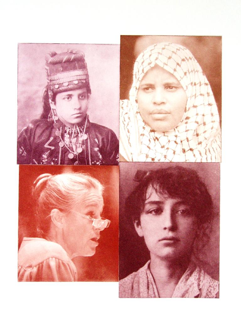 Kvartet. Fotogravure montage af fire kvindeportrætter på tværs af tid og sted.