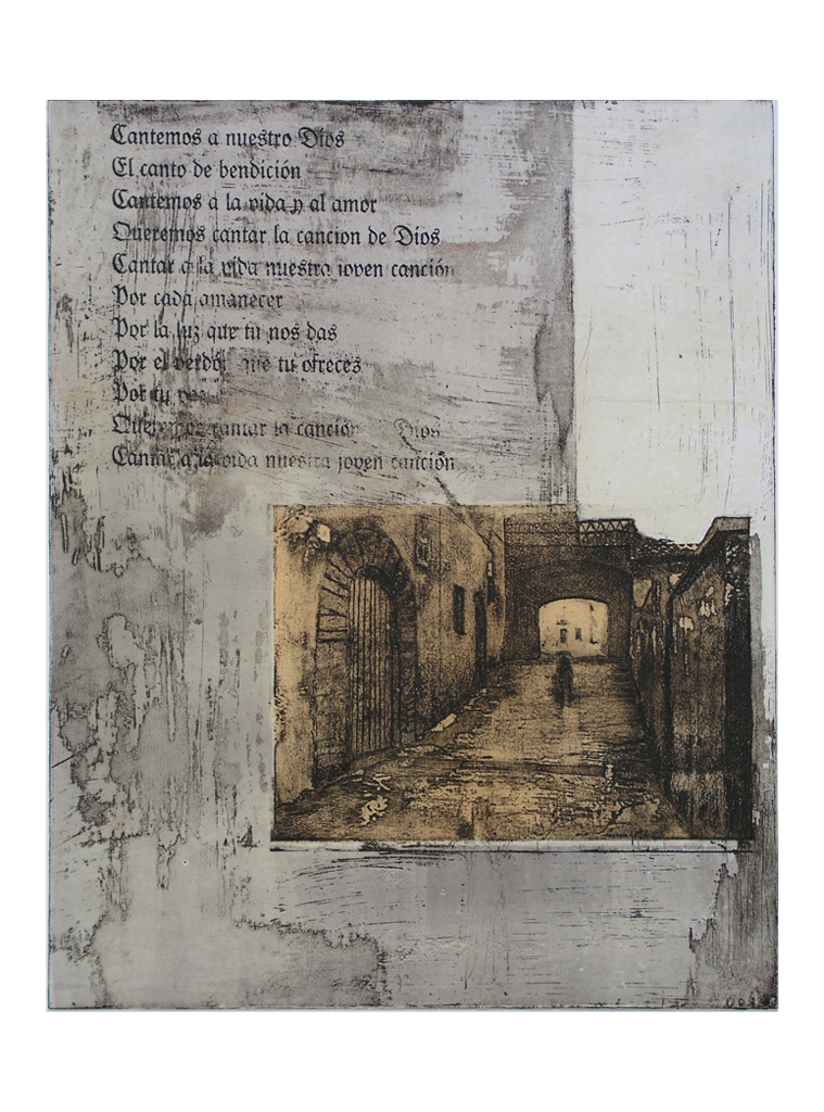 Spanske Breve V. Farveradering 56 x 76 cm. Serie, 7 i alt. Grafisk udsmykning Aarhus Sygehus 1996-97